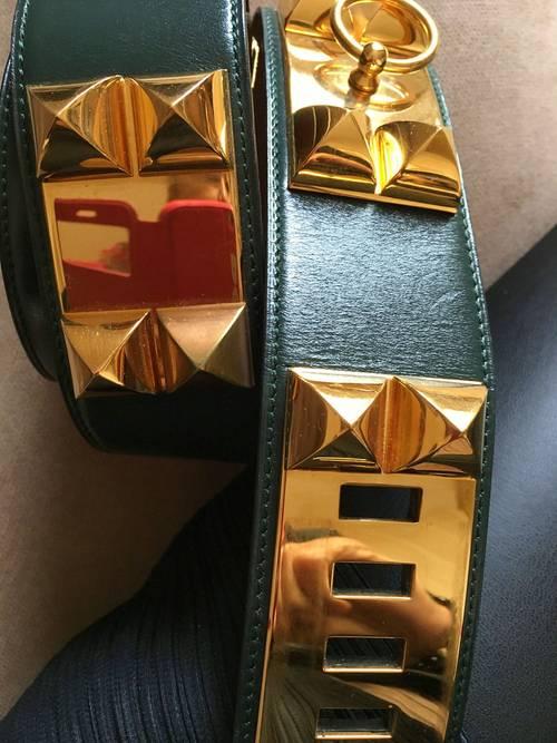 Hermes ceinture *Collier de chien*, verte, 95cms