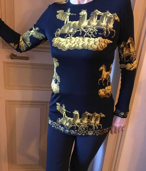 Hermès exceptionnel ensemble en jersey de soie - M