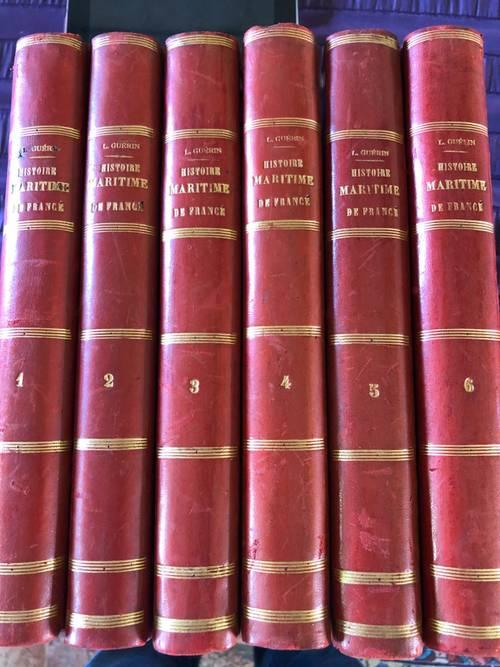 Histoire maritime de France, 6volumes cuir 1851, Dufour et Mulat édit