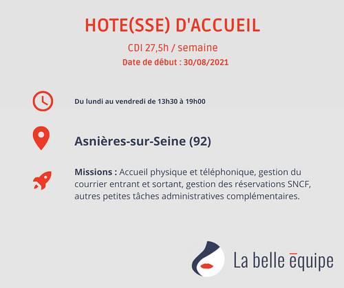 Recrute hôte d'accueil H/F CDI temps partiel après-midi - Asnières sur Seine