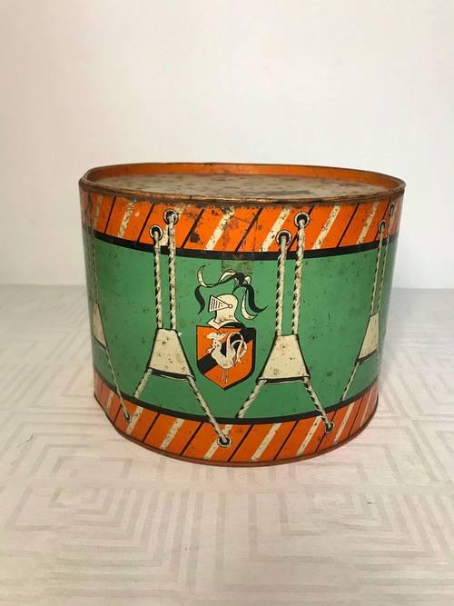 Jouet ancien tambour métal marque Kaas Strasbourg années 1950