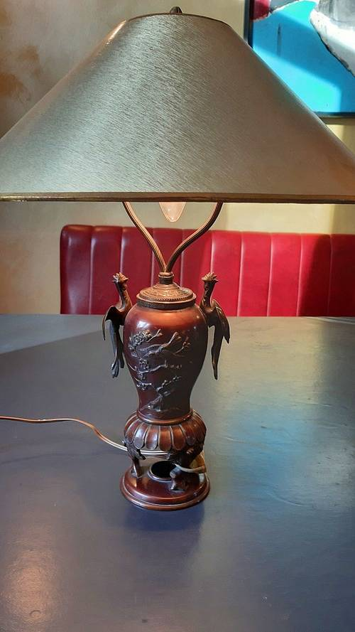 Lampe bronze à oiseaux
