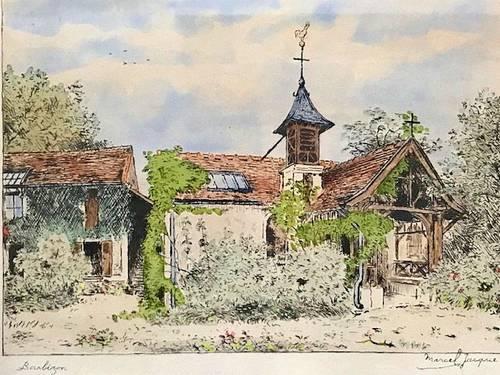 Jacques (Marcel) lithographie paysage de Barbizon signée début XXème
