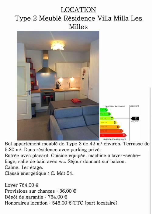 Location Aix en Provence - 1chambre, 42m²