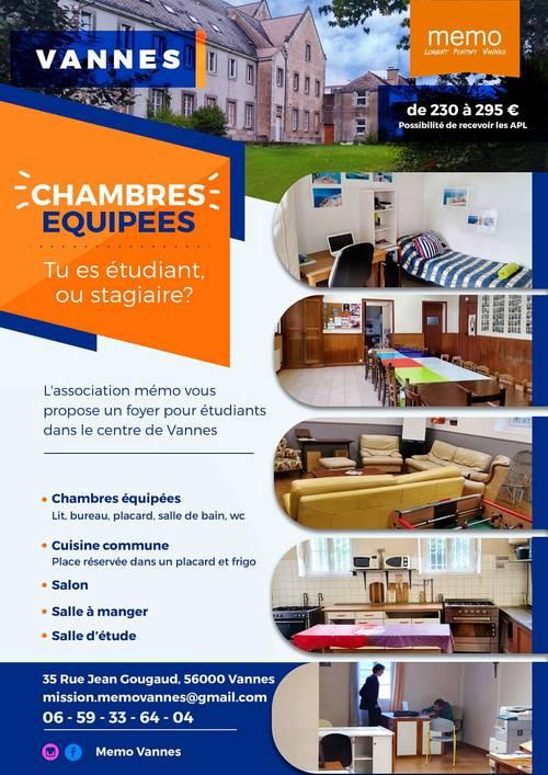 Loue logement étudiant - Association MEMO - 1chambre, 14m² - Vannes