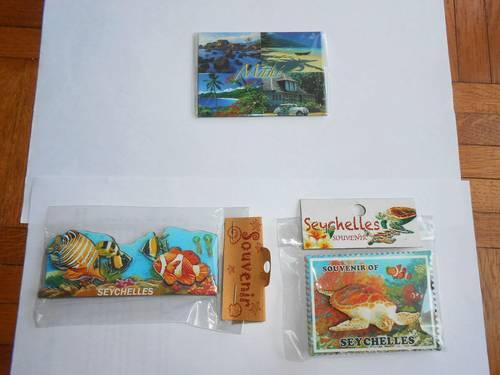 Lot de magnets neufs souvenir des Seychelles