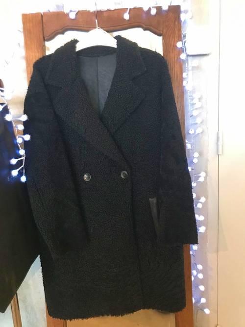 Manteau peau lainée coloris noir Essentiel Antwerp taille 36/38