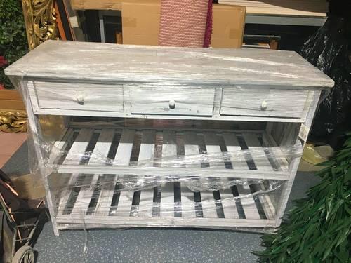 Meuble neuf console étagère 3tiroirs bois cérusé blanc
