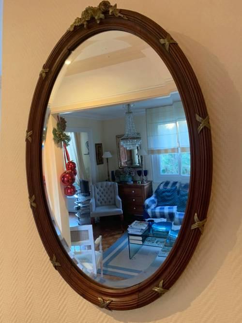 Miroir ovale bois et bronze
