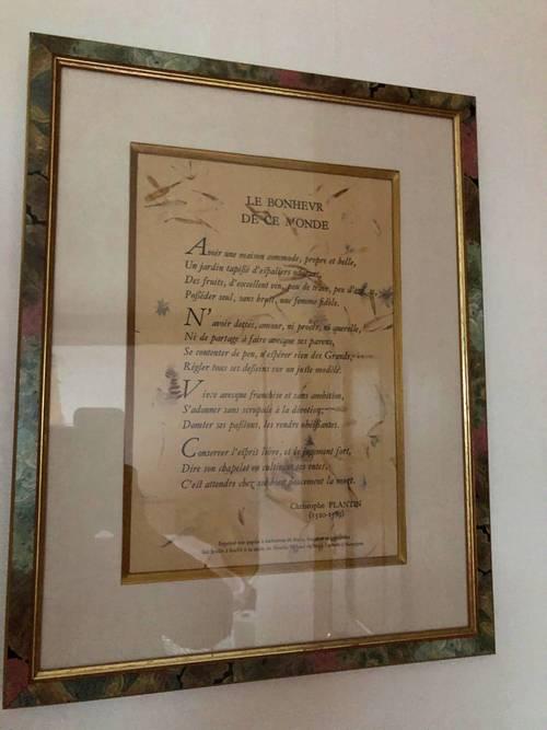 Poèmes imprimés sur papier chiffon moulin Richard de bas et encadrés