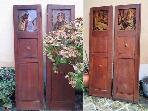 Portes intérieures de séparation, chêne massif, art déco