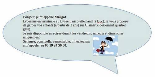 JF propose babysitting à Clamart les WE (quartier gare)