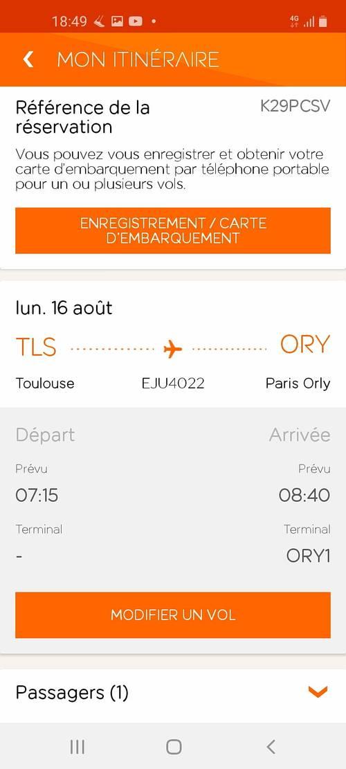 Propose billet d'avion EasyJet Toulouse → - 16août 2021à 7h15
