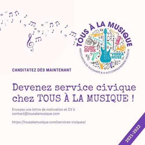 Propose Service civique chez Tous à La Musique