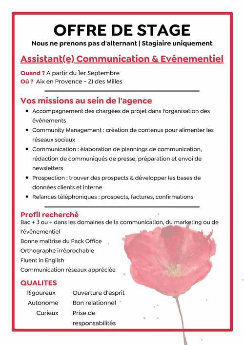 Propose stage Agence Communication Evènementielle à Aix en Provence