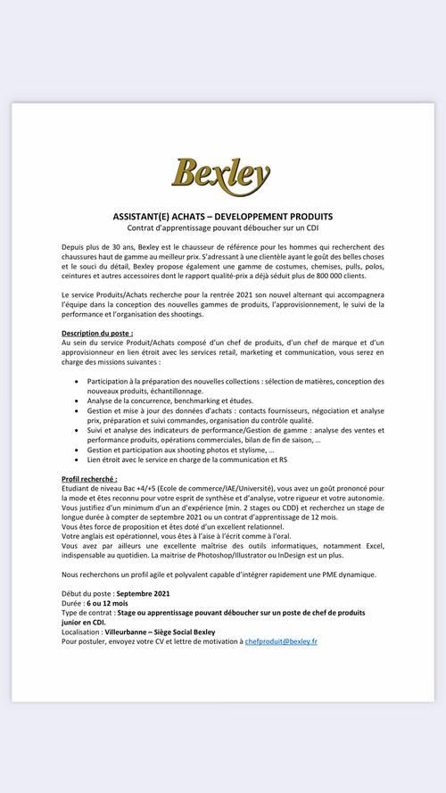 Recherche alternant rentrée septembre 2021Bexley service achats - H/F