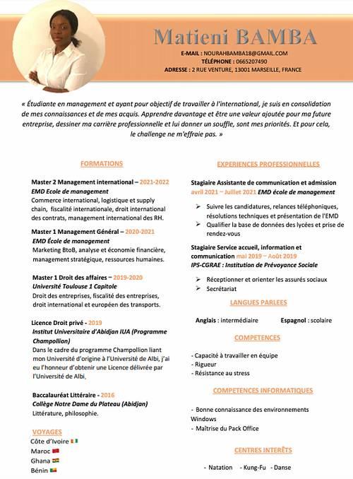 Recommandation étudiante pour alternance Bac+ 5Commerce International