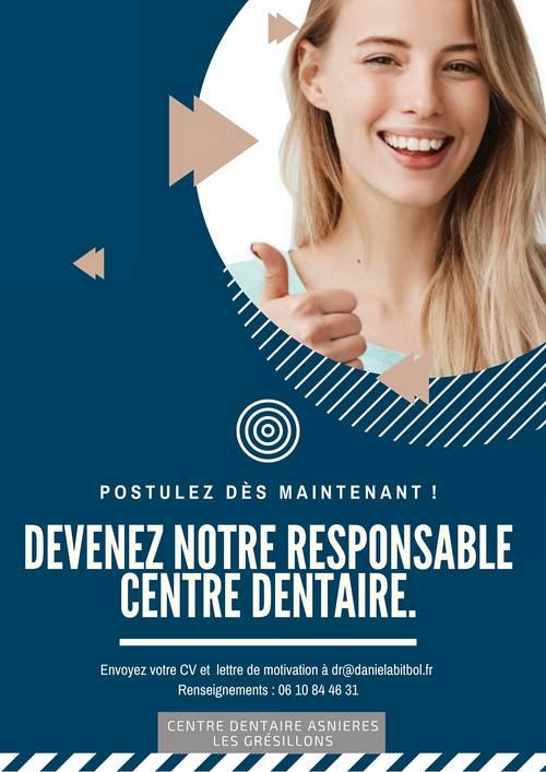 Recrute H/F responsable centre dentaire CDI - Asnières (92)