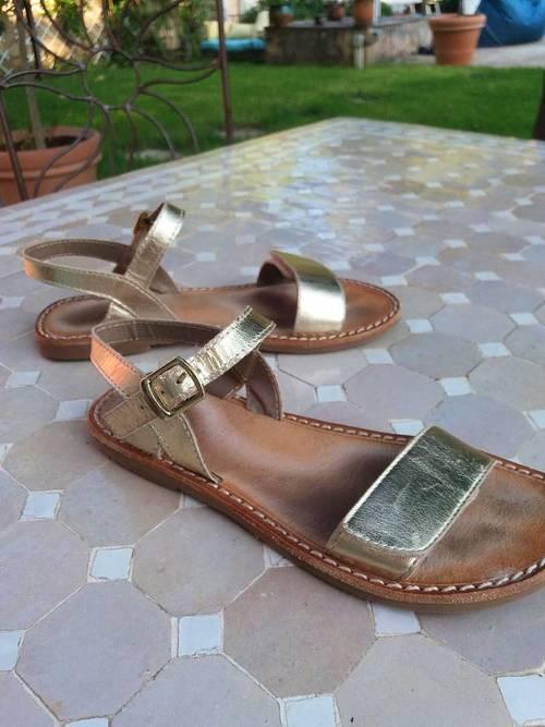 Sandales cuir dorées L'atelier Tropézien - Pointure 33