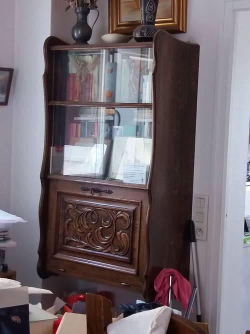 Sécrétaire Bibliothèque à abattant style breton à feuillage