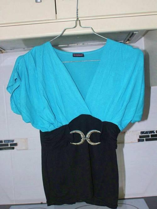 Tee-shirt turquoise et noir - Taille XS