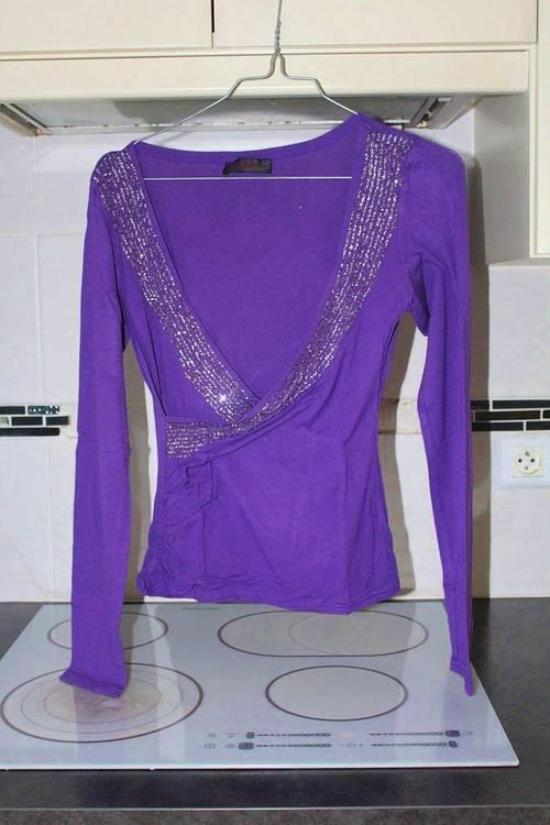 Vends Tee-shirt violet et gris, taille XS