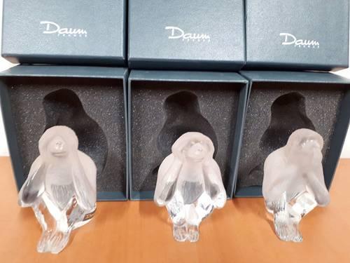 Les 3singes de la Sagesse en cristal Daum