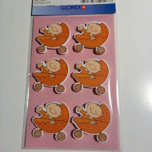 Sticker en bois bébé + landau orange vendu par 6