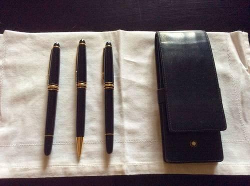 Trio stylo plume,stylo à bille, porte mine Mont Blanc Meisterstuck