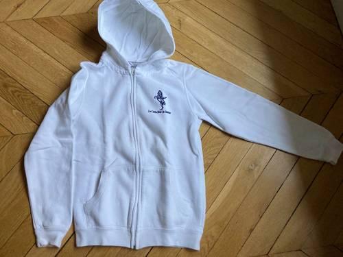 Sweat shirt blanc à capuche Cadre Noir12/14