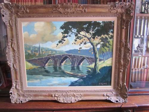 Tableau huile sur toile peinture cadre platre