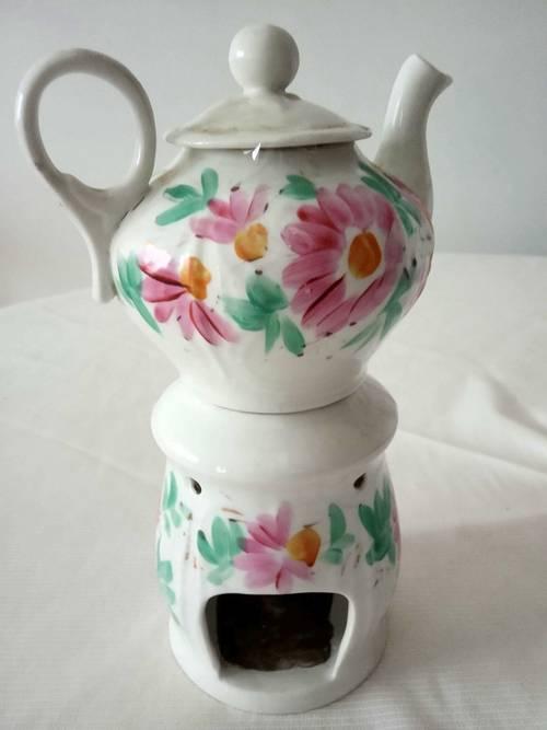 Théière porcelaine chauffe plat