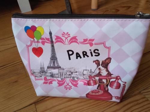 Trousse de toilette/maquillage « Paris » blanche & rose Neuve