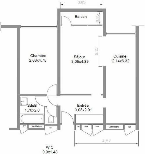 Vends appartement occupé Bagnolet (93) - 1chambre, 52m²