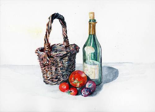 Vends aquarelle, bouteille et tomates pour sous-verre, cadeau