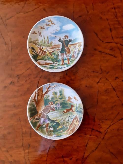 Vends 6assiettes à dessert Sarreguemines à décor de chasse