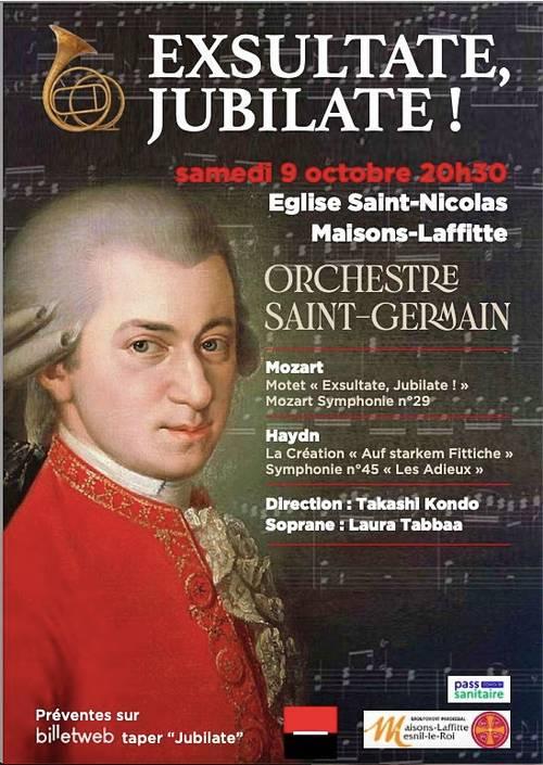 """Vends billets pour le Concert """"Exsultate, Jubilate"""" le samedi 9/10"""
