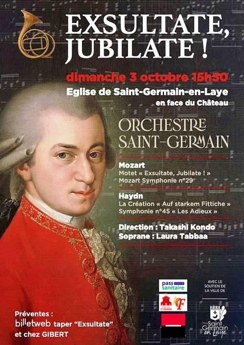 """Vends billets pour le Concert """"Exsultate, Jubilate"""", dimanche 3/10"""