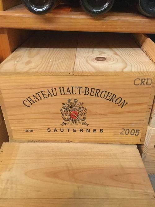 Vends 12bouteilles Sauternes Château Haut Bergeron 2005
