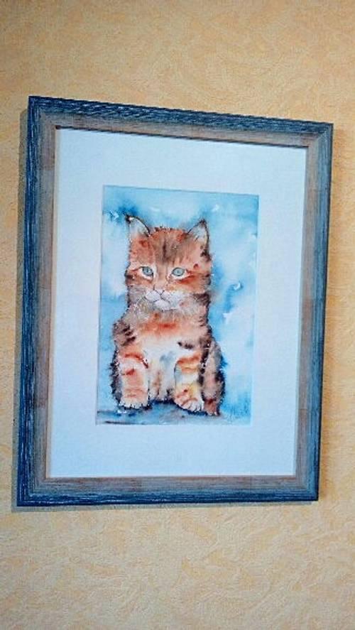 Vends cadre d'aquarelle signée fait mains d'un chaton