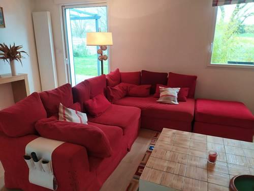 Vends canapé d'angle rouge