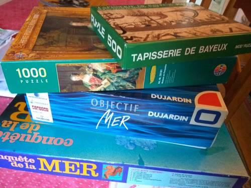 Vends 2puzzles, divers jeux, rafle, mille bornes