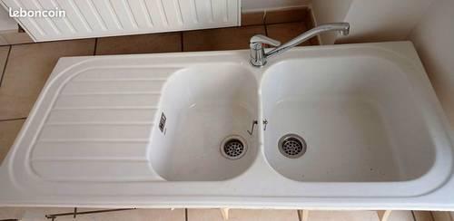 Vends Evier Allia céramique blanc 2cuves 1égouttoir 120par 60+ rob