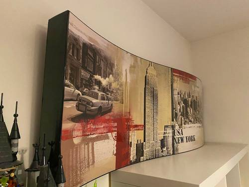 Vends grand tableau New York en forme de vague