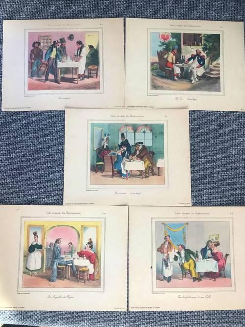 """Vends lot de 5gravures """"carte vivante du Restaurateur"""""""