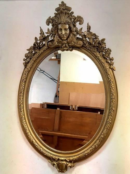 Vends miroir ovale de style Napoléon III