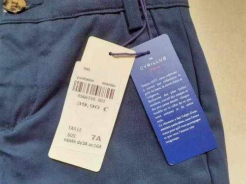 Vends pantalon neuf Chino Cyrillus 7ans bleu marine