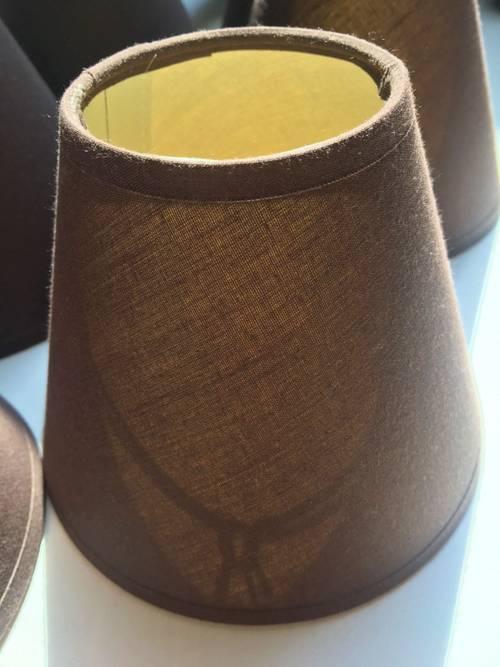 Vends 6petits abats-jour en tissu marron