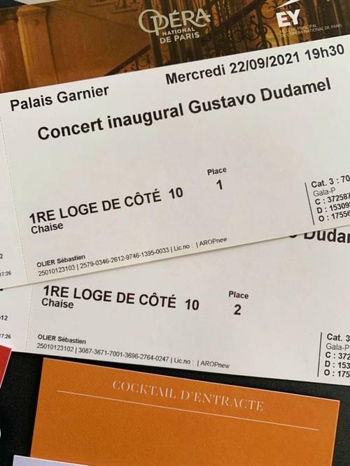 Vends 2places loge pour Concert Inaugural à l'Opéra Garnier - 22/09