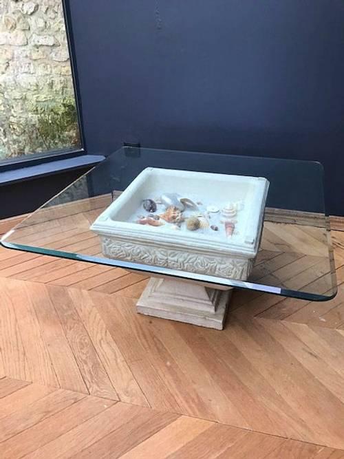 Vends table basse pierre et verre